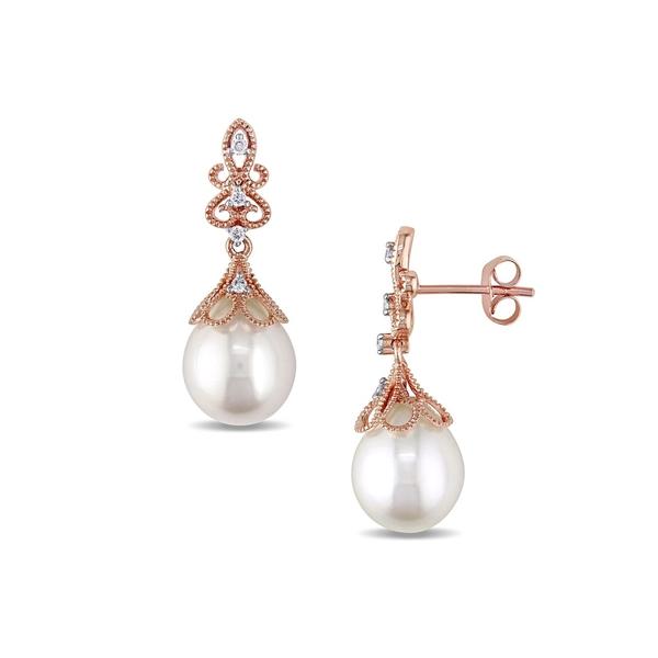 ソナティナ レディース ピアス&イヤリング アクセサリー Freshwater Cultured Pearl, Diamond and 14K Rose Gold Vintage Drop Earrings Rose Gold