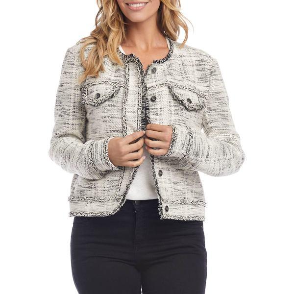 カレンケーン レディース コート アウター Tailored-Fit Fringed Cotton-Blend Jacket Black Ivory