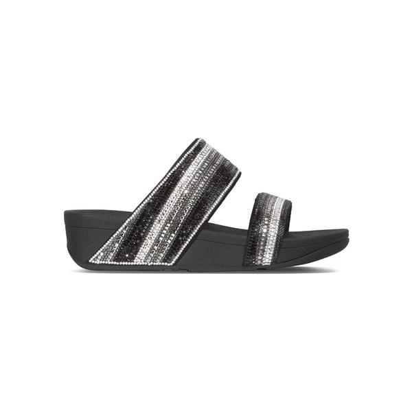 フィットフロップ レディース サンダル シューズ Rosa Crystal Mosaic Faux Leather Slides Black