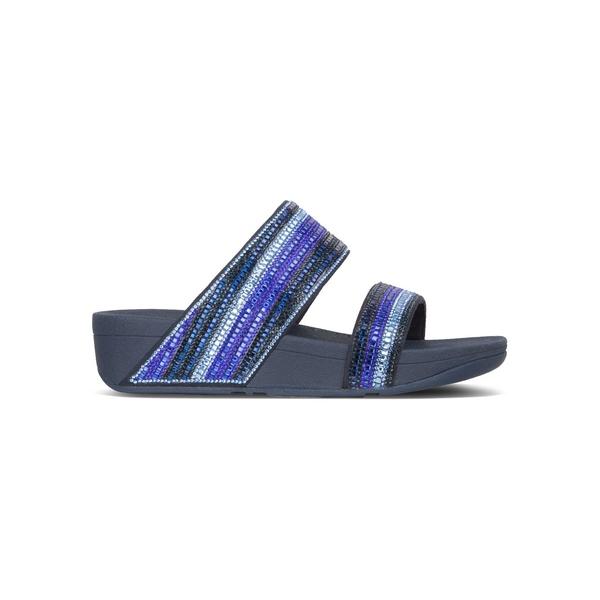 フィットフロップ レディース サンダル シューズ Rosa Crystal Mosaic Faux Leather Slides Aurora Blue