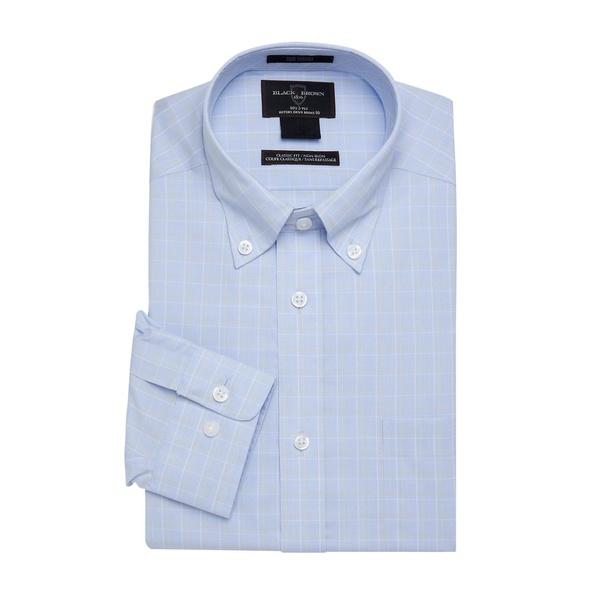 ブラック・ブラウン1826 メンズ シャツ トップス Plaid Dress Shirt Light Blue