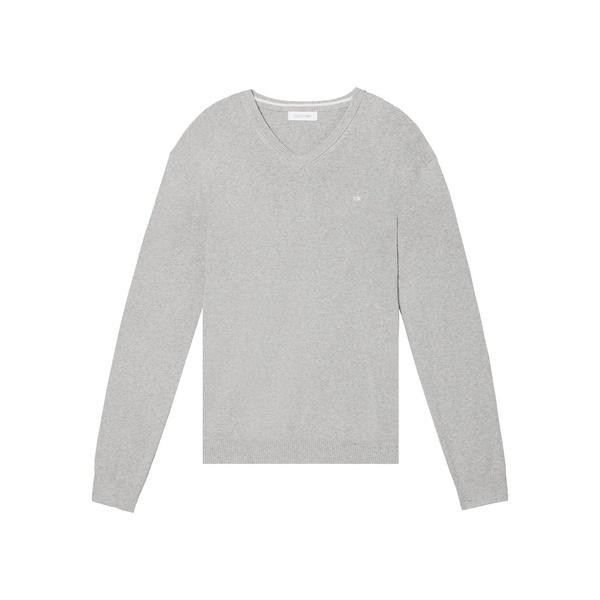 カルバンクライン メンズ ニット&セーター アウター Cotton-Blend V-Neck Sweater Heroic Grey Heather
