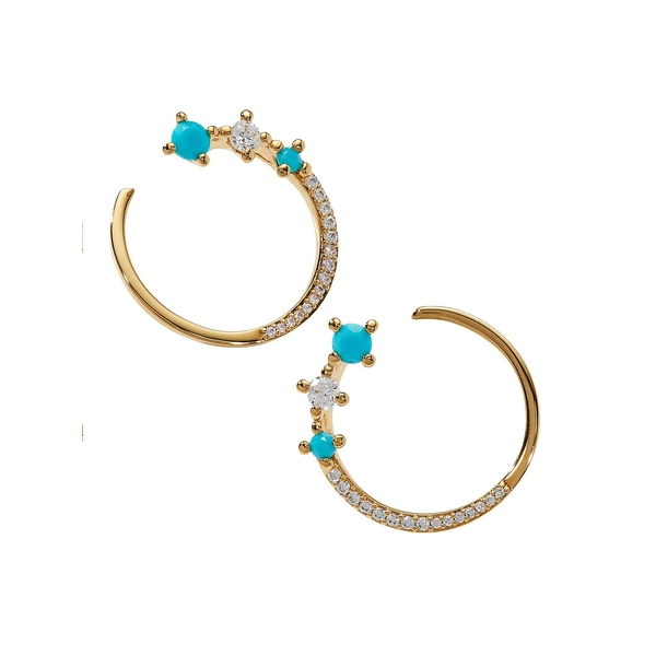 ナディール レディース ピアス&イヤリング アクセサリー Issa Turq 18K Goldplated & Crystal Wraparound Hoop Earrings Gold