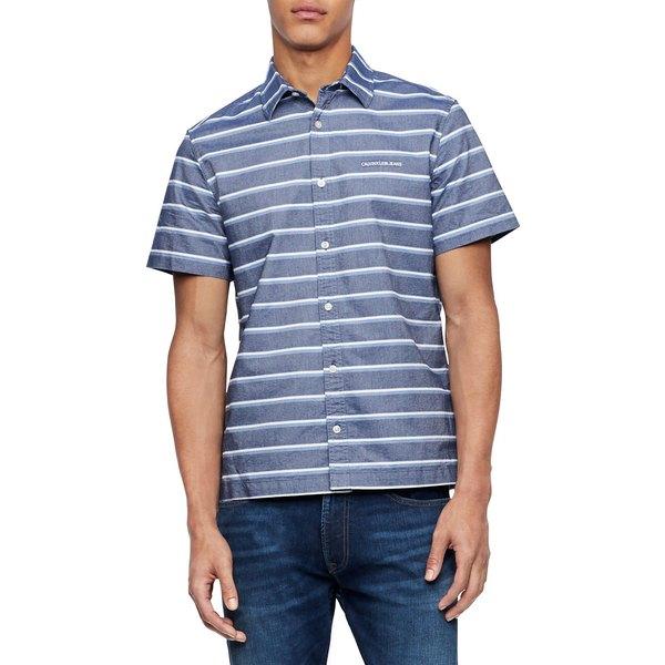 カルバンクライン メンズ シャツ トップス California Stripe Chambray Short-Sleeve Shirt Chambray