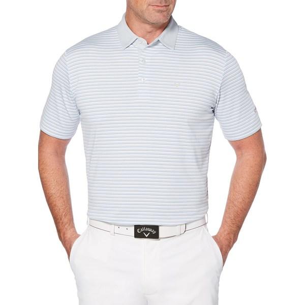 キャラウェイ メンズ シャツ トップス Cooling Tonal 3-Striped Polo White Blue