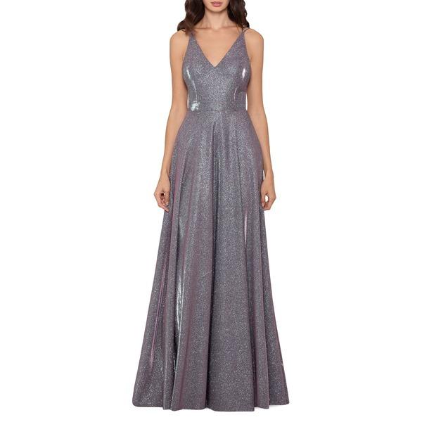 エスケープ レディース ワンピース トップス Glitter V-Neck Ball Gown Blush Silver