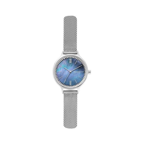 スカーゲン レディース 腕時計 アクセサリー Anita Three-Hand Silvertone Steel-Mesh Watch Silver