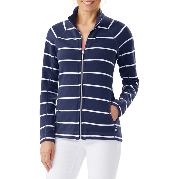 トッミーバハマ レディース パーカー・スウェットシャツ アウター Aruba Seema Stripe Stand Collar Full Zip Sweatshirt Island Navy
