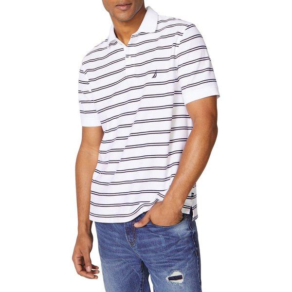 ナウティカ メンズ シャツ トップス Striped Cotton-Blend Polo Bright White