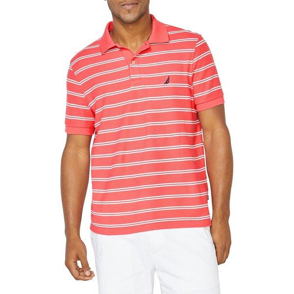 ナウティカ メンズ シャツ トップス Striped Cotton-Blend Polo Paradise Pink