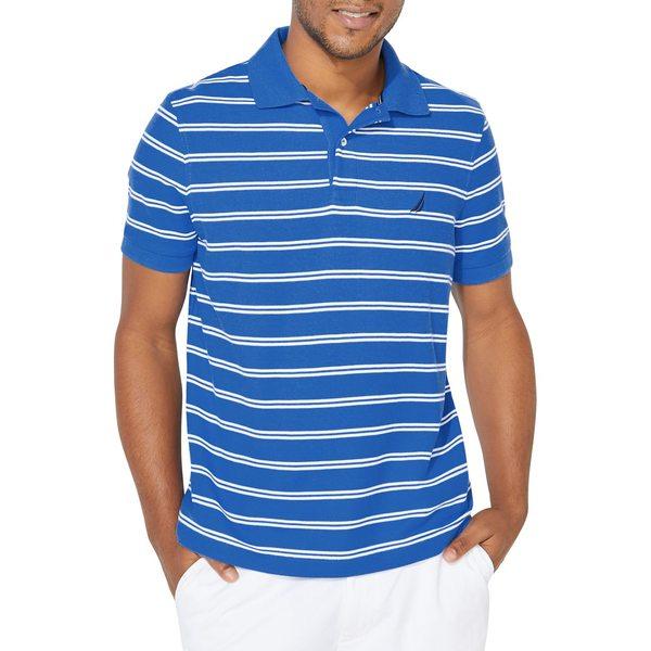 ナウティカ メンズ シャツ トップス Striped Cotton-Blend Polo Spinner Blue