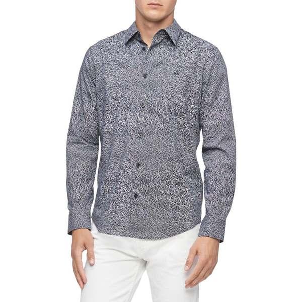 カルバンクライン メンズ シャツ トップス Regular-Fit Printed Shirt Maritime Blue