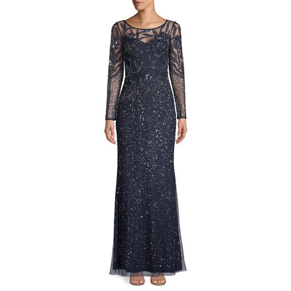 アドリアナ パペル レディース ワンピース トップス Beaded Long-Sleeve Gown Midnight