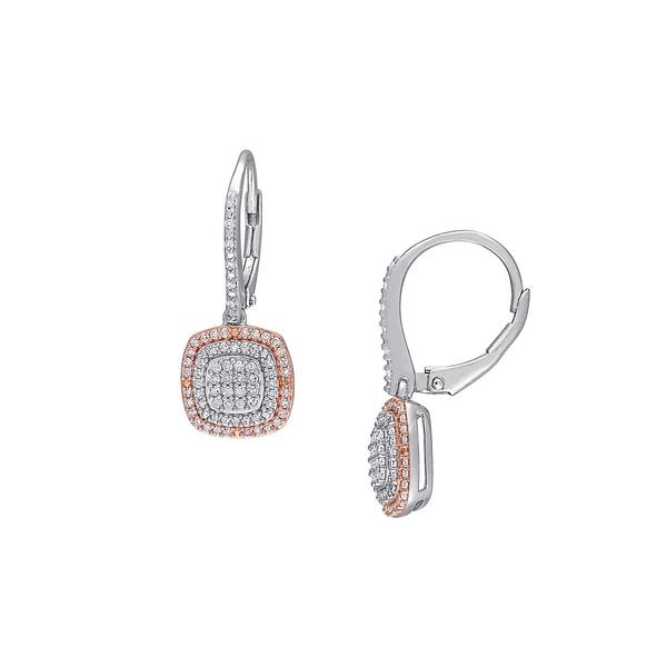 ソナティナ レディース ピアス&イヤリング アクセサリー Two-Tone Sterling Silver 0.5 TCW Diamond Cluster Halo Earrings Silver