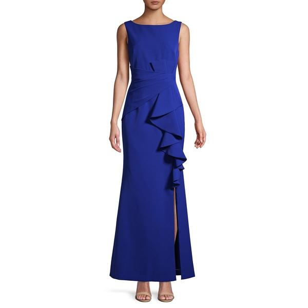 エリザジェイ レディース ワンピース トップス Front-Slit Sleeveless Gown Cobalt