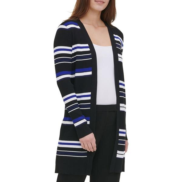 カルバンクライン レディース ニット&セーター アウター Striped Open-Front Cardigan Black White Twilight Blue