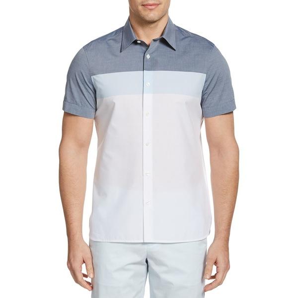 ペリーエリス メンズ シャツ トップス Colorblock Short-Sleeve Shirt Cerulean