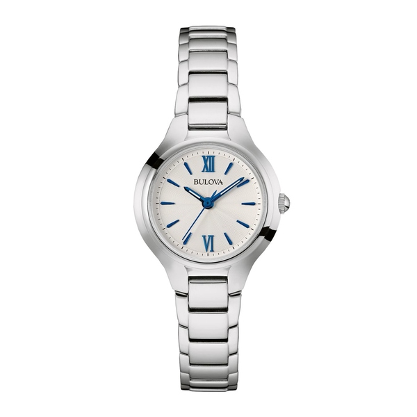 ブロバ レディース 腕時計 アクセサリー Classic Blue Markers Stainless Steel Slim Bracelet Watch Silver