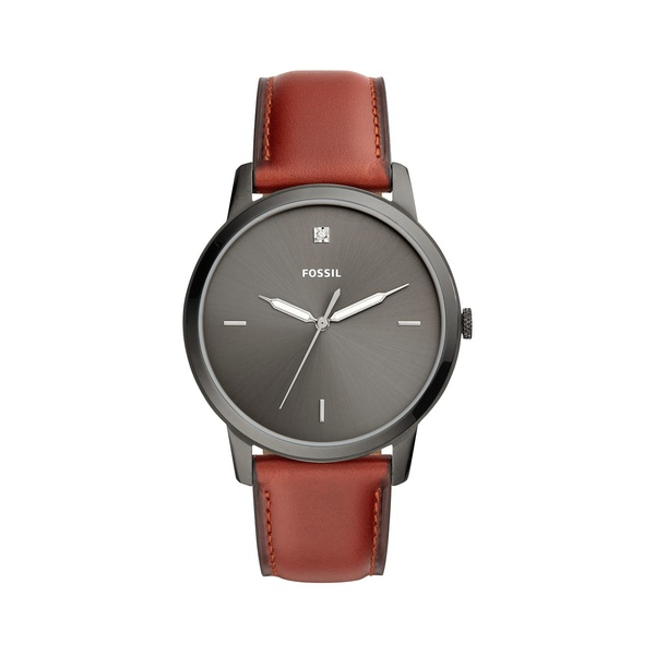 フォッシル メンズ 腕時計 アクセサリー The Minimalist Carbon Series Diamond Accent, Stainless Steel & Brown Leather Strap Watch Brown