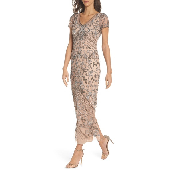 ピサッロナイツ レディース ワンピース トップス Pisarro Nights Beaded Longline Gown (Regular, Petite & Plus Size) Rose