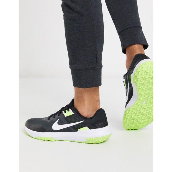 ナイキ メンズ スニーカー シューズ Nike Training Varsity Compete 3 sneakers in black and neon green Black