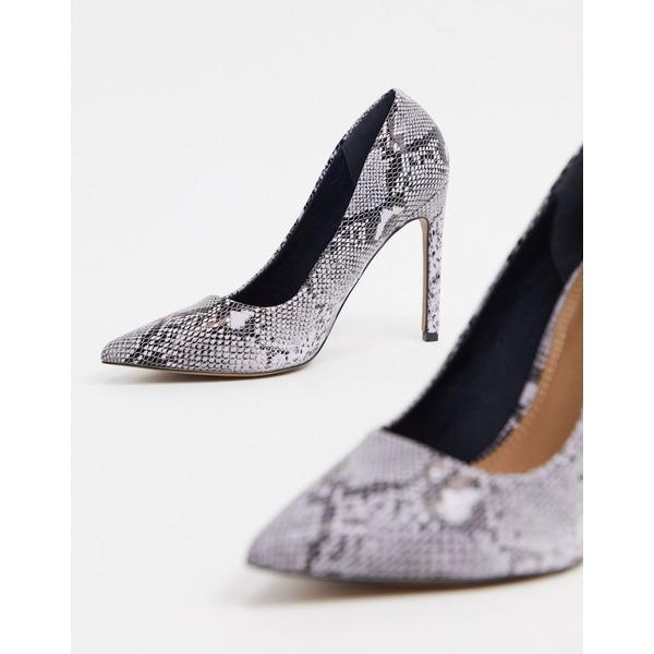 エイソス レディース ヒール シューズ ASOS DESIGN Wide Fit Porto pointed high heeled pumps in warm gray snake Warm gray snake