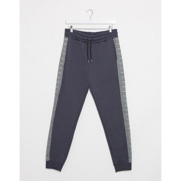 リバーアイランド メンズ カジュアルパンツ ボトムス River Island cut and sew sweatpants two-piece Gray