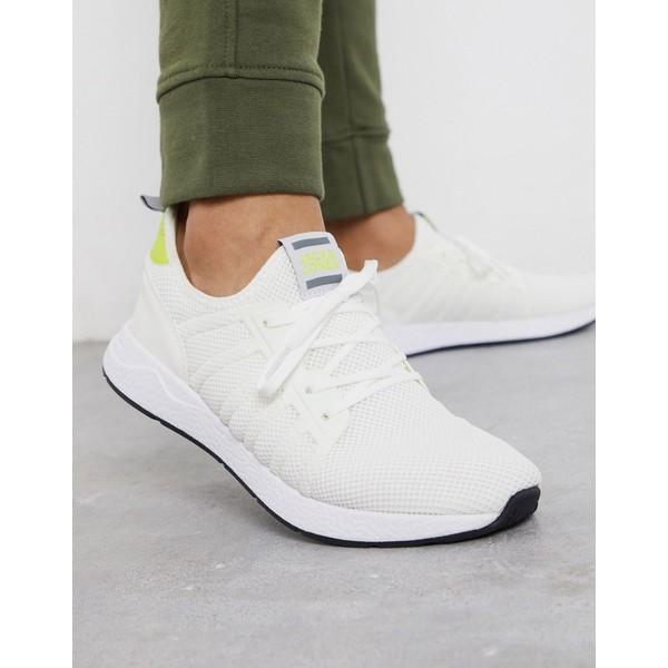ジャック アンド ジョーンズ メンズ スニーカー シューズ Jack & Jones mesh runner sneakers in white Bright white