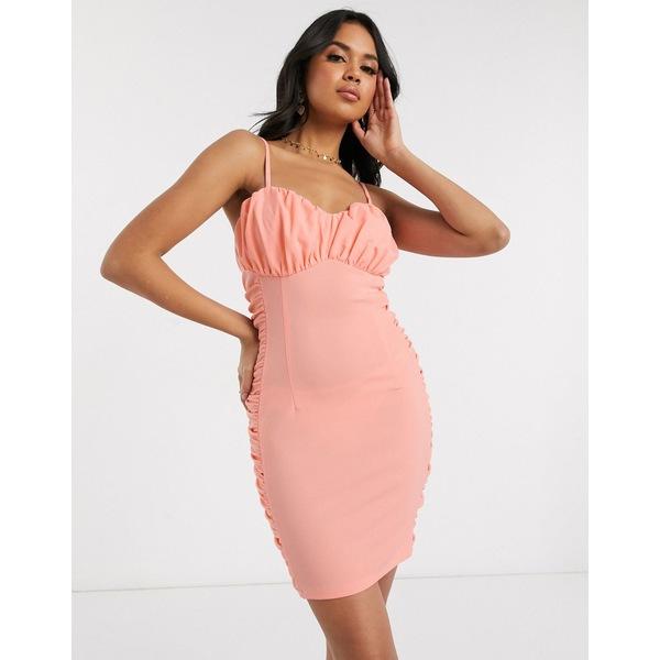 アックスパリ レディース ワンピース トップス AX Paris gathered bust mini dress in peach Peach