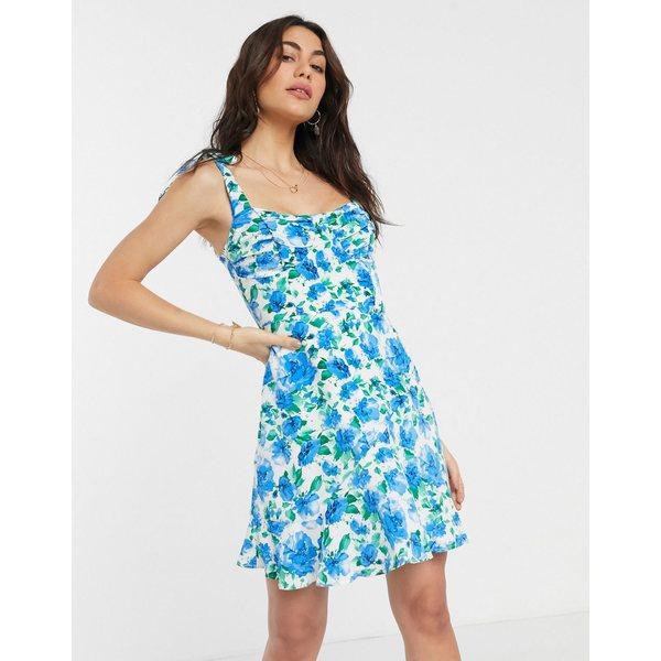 ファッションモンキー レディース ワンピース トップス Fashion Union mini dress in floral print Blue floral