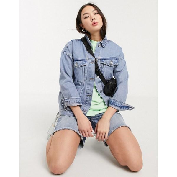 モンキ レディース コート アウター Monki Cathy oversized denim jacket in blue Blue