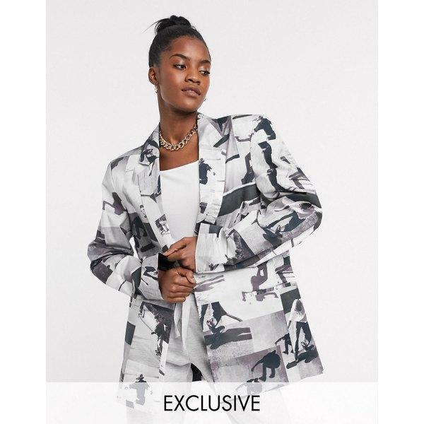 コリュージョン レディース ジャケット&ブルゾン アウター COLLUSION Unisex oversized blazer in photographic print Multi