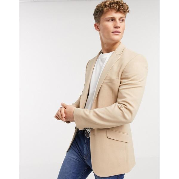 エイソス メンズ ジャケット&ブルゾン アウター ASOS DESIGN skinny blazer in camel oxford Camel