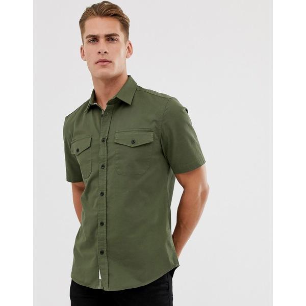 リバーアイランド メンズ シャツ トップス River Island utility shirt in khaki Dark green