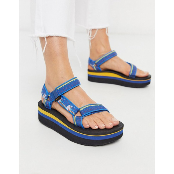 テバ レディース サンダル シューズ Teva flatform universal chunky sandals in unicorn blue Unicorn dark blue