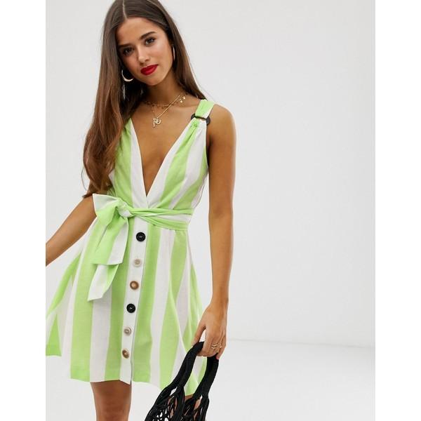 ムーンリバー レディース ワンピース トップス Moon River green candystripe mini dress Lime/white