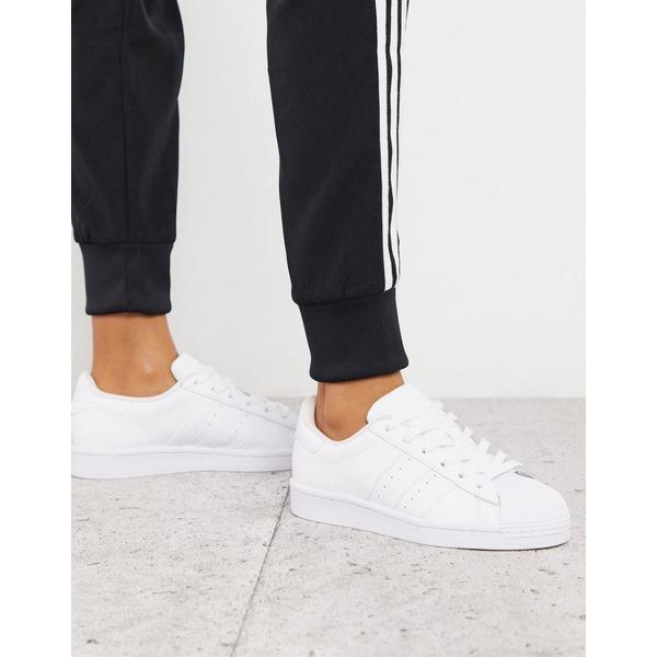 アディダスオリジナルス レディース スニーカー シューズ adidas Originals Superstar sneakers in triple white White