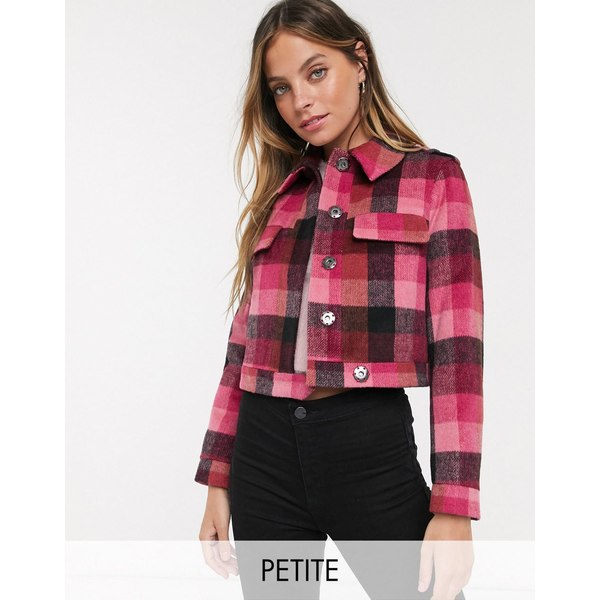 ミスセルフフリッジ レディース ジャケット&ブルゾン アウター Miss Selfridge Petite trucker jacket in pink check Check