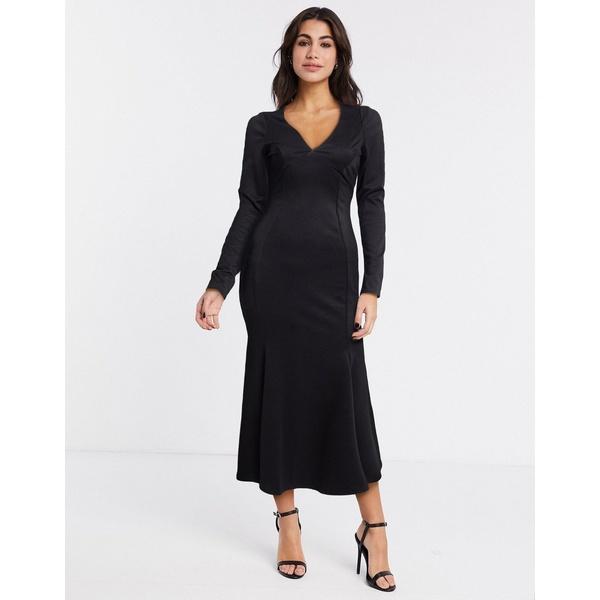 エイソス レディース ワンピース トップス ASOS DESIGN midi bodycon dress with fishtail and v neck in black Black