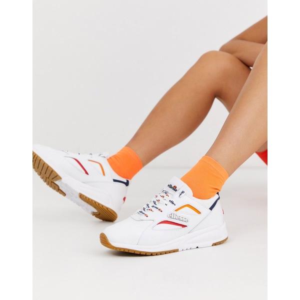 エレッセ レディース スニーカー シューズ Ellesse contest contrast leather sneakers in white White/navy