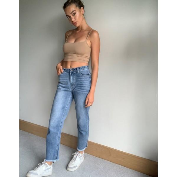オブジェクト レディース デニムパンツ ボトムス Object straight leg jeans in light blue wash Blue