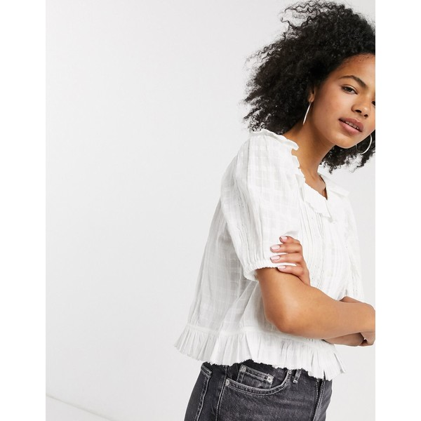 アンドアザーストーリーズ レディース シャツ トップス & Other Stories organic cotton frill hem top with lace inserts in white White