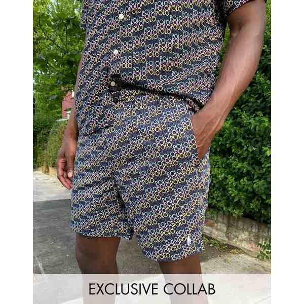 ラルフローレン メンズ カジュアルパンツ ボトムス Polo Ralph Lauren x ASOS exclusive collab prepster short in black with all over logo Black w/ polo