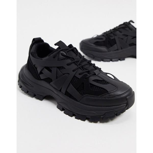 エイソス メンズ スニーカー シューズ ASOS DESIGN sneakers with multi rubber pannels and chunky sole in black Black
