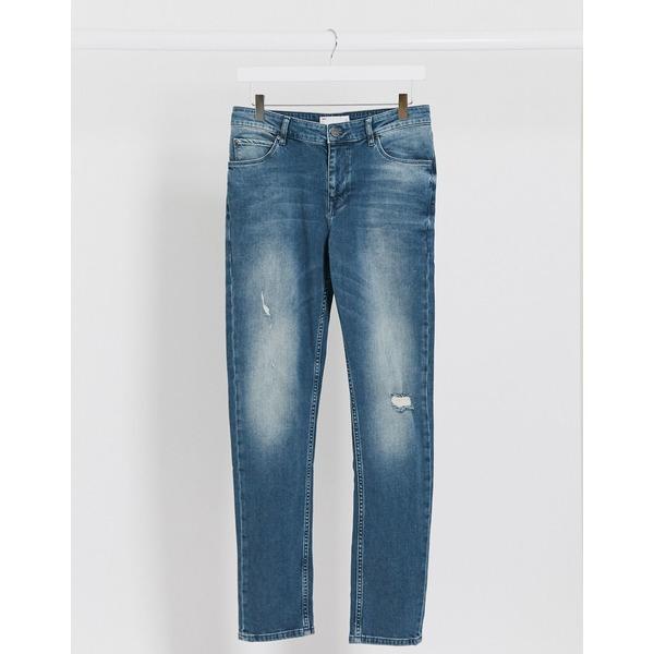 エイソス メンズ デニムパンツ ボトムス ASOS DESIGN skinny jeans in vintage mid wash tint with abrasions Mid wash vintage