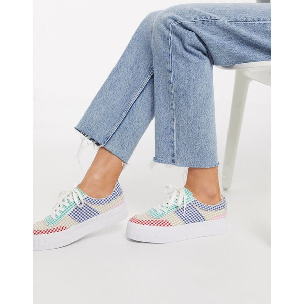 エイソス レディース スニーカー シューズ ASOS DESIGN Dynamic chunky sneakers in multi gingham Multi gingham