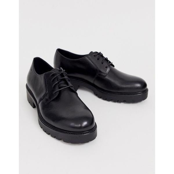 バガボンド レディース ブーツ&レインブーツ シューズ Vagabond Kenova lace up chunky flat shoes in black leather Black leather