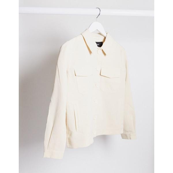 ヴェロモーダ レディース ジャケット&ブルゾン アウター Vero Moda oversized trucker jacket in cream Birch