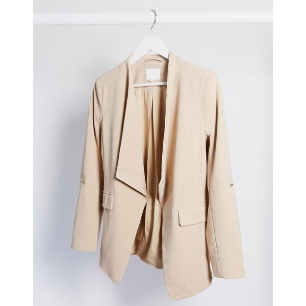 ヴィラ レディース ジャケット&ブルゾン アウター Vila soft collar blazer in tan Nomad