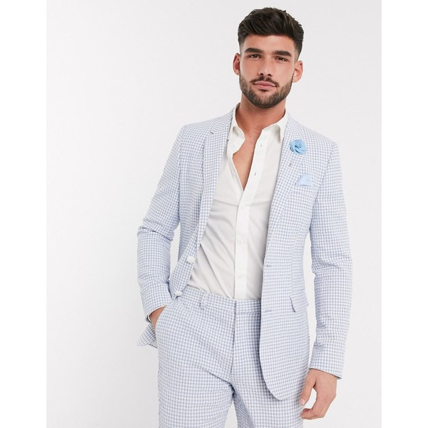 エイソス メンズ ジャケット&ブルゾン アウター ASOS DESIGN wedding skinny suit jacket in light blue gingham cotton seersucker Blue